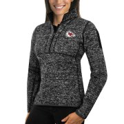 Wholesale Cheap Kansas City Chiefs Antigua Women's Fortune Half-Zip Sweater Heather Black