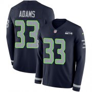 Wholesale Cheap Nike Seahawks #33 Jamal Adams Steel Blue Team Color Men's Stitched NFL Limited Therma Long Sleeve Jersey