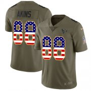 Wholesale Cheap Nike Texans #88 Jordan Akins Olive/USA Flag Youth Stitched NFL Limited 2017 Salute To Service Jersey
