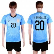 Wholesale Cheap Uruguay #20 A.Gonzalez Home Soccer Country Jersey