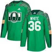 Wholesale Cheap Adidas Senators #36 Colin White adidas Green St. Patrick's Day Authentic Practice Stitched NHL Jersey
