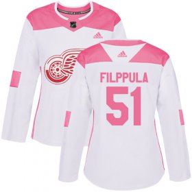 Wholesale Cheap Adidas Red Wings #51 Valtteri Filppula White/Pink Authentic Fashion Women\'s Stitched NHL Jersey