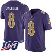 Wholesale Cheap Nike Ravens #8 Lamar Jackson Purple Men's Stitched NFL Limited Rush 100th Season Jersey