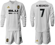 Wholesale Cheap Valencia #7 A.Negredo Home Long Sleeves Soccer Club Jersey