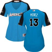 Wholesale Cheap Royals #13 Salvador Perez Blue 2017 All-Star American League Women's Stitched MLB Jersey