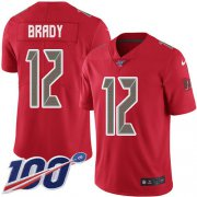 Wholesale Cheap Nike Buccaneers #12 Tom Brady Red Men's Stitched NFL Limited Rush 100th Season Jersey