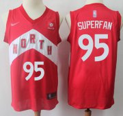 Wholesale Cheap Raptors #95 Superfan Red Basketball Swingman Earned Edition Jersey