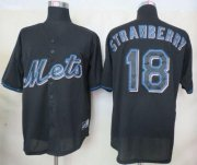 Wholesale Cheap Mets #18 Darryl Strawberry Black Fashion Stitched MLB Jersey