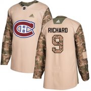 Wholesale Cheap Adidas Canadiens #9 Maurice Richard Camo Authentic 2017 Veterans Day Stitched Youth NHL Jersey