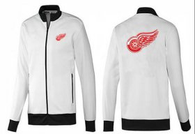 Wholesale NHL Detroit Red Wings Zip Jackets White-1