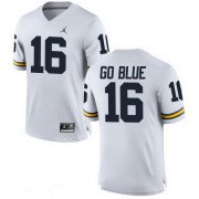 Wholesale Cheap Men's Michigan Wolverines #16 GO BLUE White Stitched College Football Brand Jordan NCAA Jersey