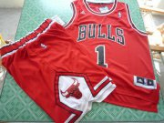 Wholesale Cheap Chicago Bulls 1 Derek Rose red color swingman Basketball Suit