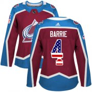 Wholesale Cheap Adidas Avalanche #4 Tyson Barrie Burgundy Home Authentic USA Flag Women's Stitched NHL Jersey