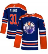 Wholesale Cheap Adidas Oilers #31 Grant Fuhr Royal Blue Sequin Embroidery Fashion Stitched NHL Jersey