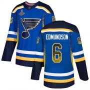 Wholesale Cheap Adidas Blues #6 Joel Edmundson Blue Home Authentic Drift Fashion Stanley Cup Champions Stitched NHL Jersey