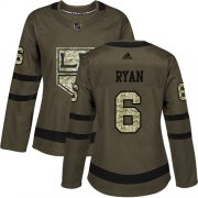 Wholesale Cheap Adidas Kings #6 Joakim Ryan Green Salute to Service Women's Stitched NHL Jersey