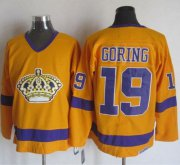 Wholesale Cheap Kings #19 Butch Goring Yellow/Purple CCM Throwback Stitched NHL Jersey