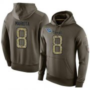 Wholesale Cheap NFL Men's Nike Tennessee Titans #8 Marcus Mariota Stitched Green Olive Salute To Service KO Performance Hoodie