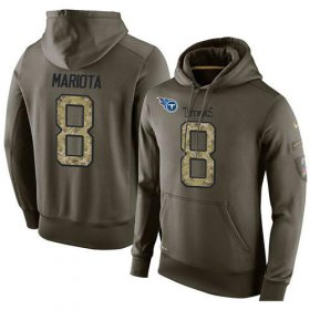 Wholesale Cheap NFL Men\'s Nike Tennessee Titans #8 Marcus Mariota Stitched Green Olive Salute To Service KO Performance Hoodie