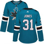 Wholesale Cheap Adidas Sharks #31 Martin Jones Teal Home Authentic Women's Stitched NHL Jersey