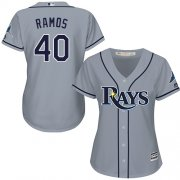 Wholesale Cheap Rays #40 Wilson Ramos Grey Road Women's Stitched MLB Jersey