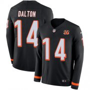 Wholesale Cheap Nike Bengals #14 Andy Dalton Black Team Color Men's Stitched NFL Limited Therma Long Sleeve Jersey