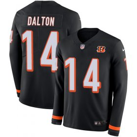 Wholesale Cheap Nike Bengals #14 Andy Dalton Black Team Color Men\'s Stitched NFL Limited Therma Long Sleeve Jersey