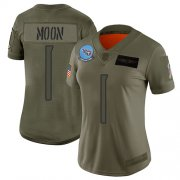 Wholesale Cheap Nike Titans #1 Warren Moon Camo Women's Stitched NFL Limited 2019 Salute to Service Jersey