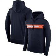 Wholesale Cheap Men's Chicago Bears Nike Navy Sideline Team Performance Pullover Hoodie