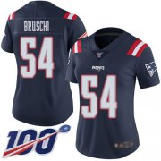 Wholesale Cheap Nike Patriots #54 Tedy Bruschi Navy Blue Women's Stitched NFL Limited Rush 100th Season Jersey