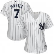 Wholesale Cheap Yankees #7 Mickey Mantle White Strip Women's Fashion Stitched MLB Jersey