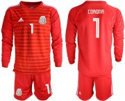 Wholesale Cheap Mexico #1 Corona Red Long Sleeves Goalkeeper Soccer Country Jersey