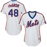 Wholesale Cheap Mets #48 Jacob deGrom White(Blue Strip) Alternate Women's Stitched MLB Jersey