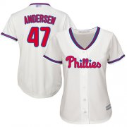 Wholesale Cheap Phillies #47 Larry Andersen Cream Alternate Women's Stitched MLB Jersey
