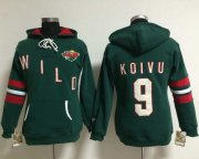 Wholesale Cheap Minnesota Wild #9 Mikko Koivu Green Women's Old Time Heidi NHL Hoodie
