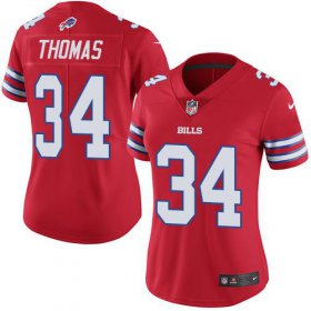 Wholesale Cheap Nike Bills #34 Thurman Thomas Red Women\'s Stitched NFL Limited Rush Jersey