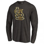 Wholesale Cheap St.Louis Cardinals Gold Collection Long Sleeve Tri-Blend T-Shirt Black