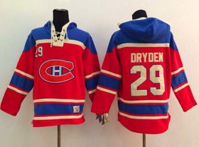 Wholesale Cheap Canadiens #29 Ken Dryden Red Sawyer Hooded Sweatshirt Stitched NHL Jersey