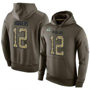 Wholesale Cheap NFL Men's Nike Green Bay Packers #12 Aaron Rodgers Stitched Green Olive Salute To Service KO Performance Hoodie