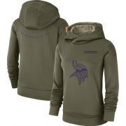 Wholesale Cheap Women's Minnesota Vikings Nike Olive Salute to Service Sideline Therma Performance Pullover Hoodie