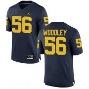 Wholesale Cheap Men's Michigan Wolverines #56 LaMarr Woodley Navy Blue Stitched College Football Brand Jordan NCAA Jersey
