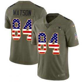 Wholesale Cheap Nike Patriots #84 Benjamin Watson Olive/USA Flag Men\'s Stitched NFL Limited 2017 Salute To Service Jersey