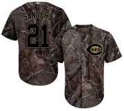 Wholesale Cheap Reds #21 Reggie Sanders Camo Realtree Collection Cool Base Stitched Youth MLB Jersey