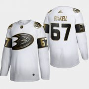 Wholesale Cheap Anaheim Ducks #67 Rickard Rakell Men's Adidas White Golden Edition Limited Stitched NHL Jersey
