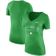Wholesale Cheap Boston Red Sox Nike Women's St. Patrick's Day Practice Tri-Blend V-Neck T-Shirt Kelly Green