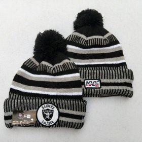 Wholesale Cheap Raiders Team Logo Gray 100th Season Pom Knit Hat YD
