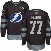Wholesale Cheap Adidas Lightning #77 Victor Hedman Black 1917-2017 100th Anniversary Stitched NHL Jersey