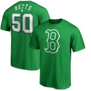 Wholesale Cheap Boston Red Sox #50 Mookie Betts Majestic St. Patrick's Day Stack Player Name & Number T-Shirt Kelly Green
