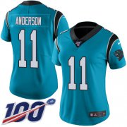 Wholesale Cheap Nike Panthers #11 Robby Anderson Blue Women's Stitched NFL Limited Rush 100th Season Jersey