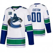 Wholesale Cheap Vancouver Canucks Custom 50th Anniversary Men's White 2019-20 Away Authentic NHL Jersey